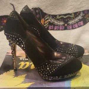 New velvet studded heels.